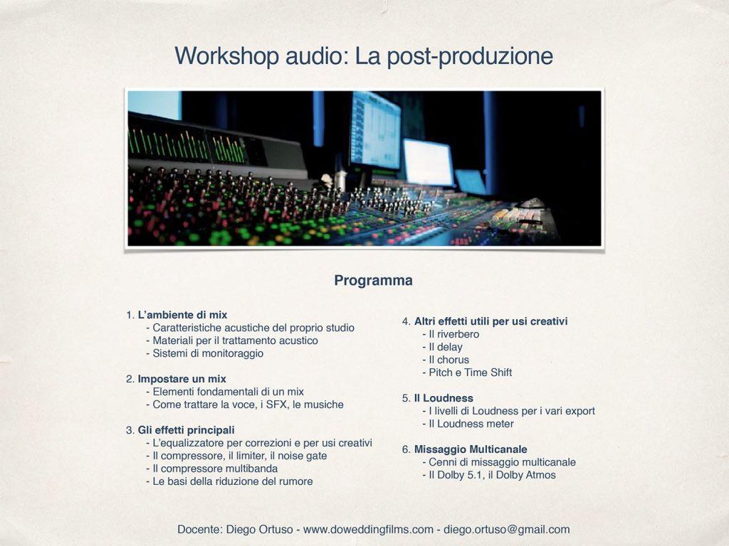 programma post produzione corso audio
