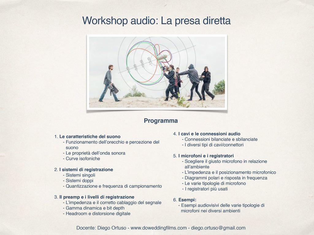 Programma presa diretta audio corso audio